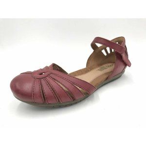 Cobb Hill Women's Leather Mary Jane Loafers Red 7M